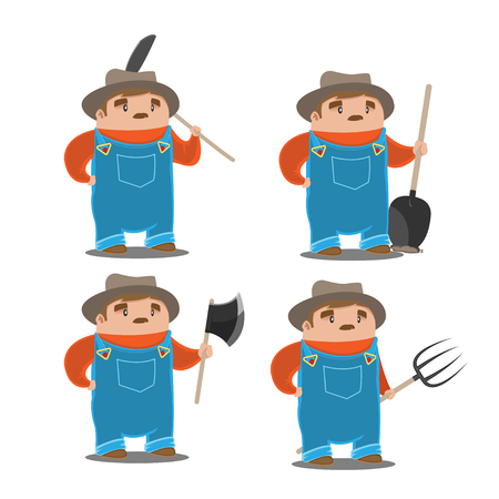 Farmer Old Man Character Set Vector