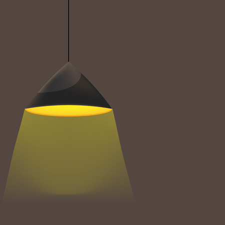 Hanging Lamp Yellow Light Room Vector 스톡 콘텐츠 - 125474090