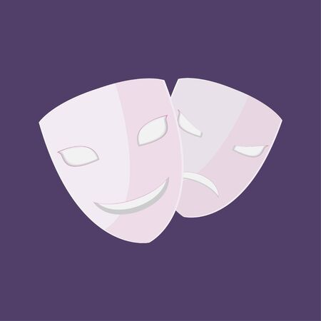 Theater Drama Mask Isolate Couple Vector