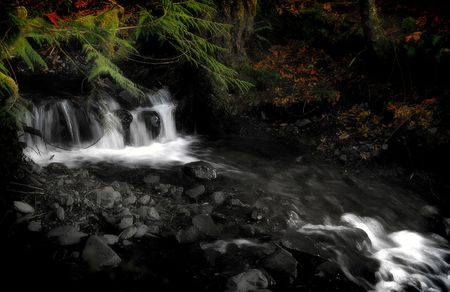 Black and white image of a long exposure of a water flowing down a river