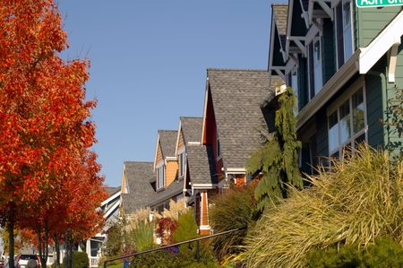 A row of colorful newer homes nicely landscaped. Great for real estate needs.