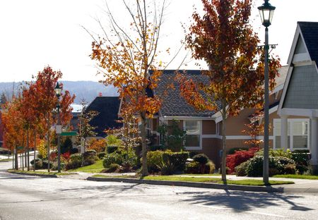 A street of colorful newer homes nicely landscaped. Great for real estate needs. Stock Photo - 4077938