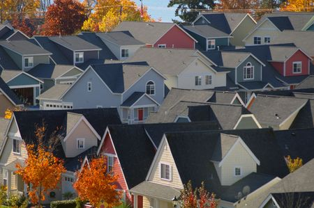 Birdseye view of a colorful small town neighborhood. Stock Photo - 4077942