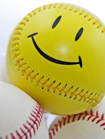 Smiley Face Baseball Stock Photo