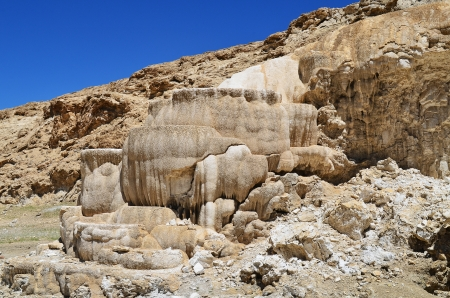 formed:  Tibet  Hot spring bath formed from limestone   Stock Photo