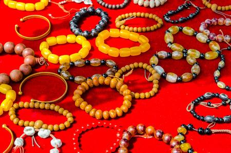 Close-up of Tibetan Bracelets in a market in Tibet on the road 版權商用圖片