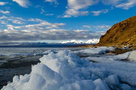 balanced rocks: Tibet. Lake Mansarovar. Early morning.