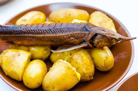 recipe decorated: Smoked sturgeon with boiled potatoes