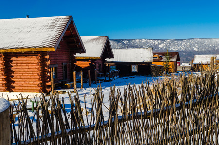 Village houses in the Ural mountains in winter
