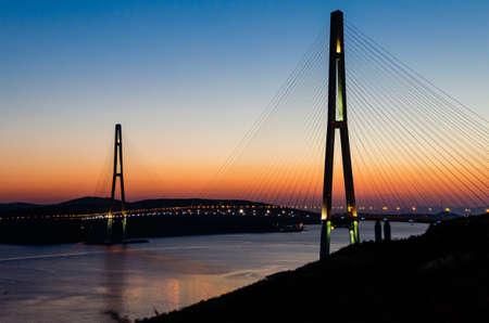 steel works: The bridge on the Russian island. Vladivostok. Russia Stock Photo