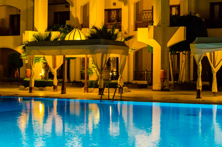Hotel in Egypt at night. Editorial