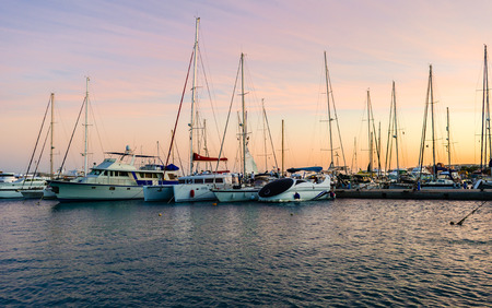 dinghies: Marina boats and yachts in the evening