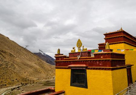 tibetan house: Tibetan monastery in the mountains of the Himalayas Stock Photo