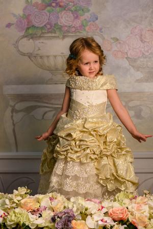french fancy: Little girl in dress with flowers