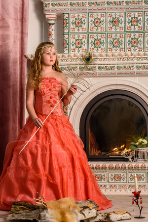 fireplace: Girl in an ancient dress fireplace