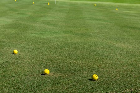 Yellow golf balls lies on a golf course