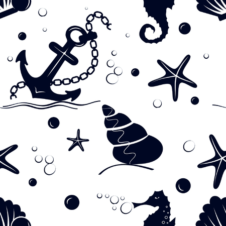 to spend the summer: Seamless sea pattern with anchor, bubbles, starfish, pearl, sea horse on a white background Illustration