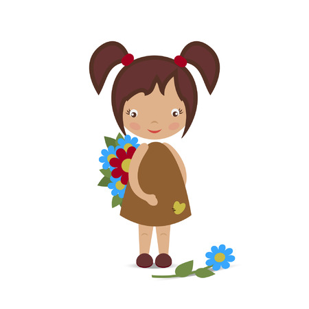 one colour: The little girl is holding flowers. The image on a white background