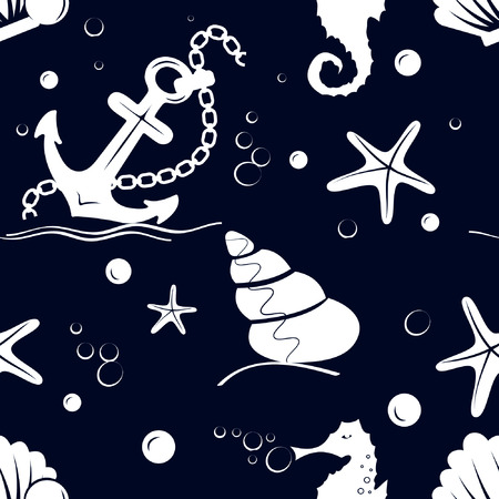 spend the summer: Seamless pattern with sea anchor, bubbles, starfish, pearl, sea horse on a blue background