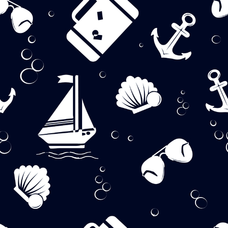 Seamless pattern with ship, sunglasses, shell, suitcase , anchor on blue background