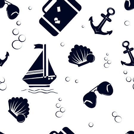 spend the summer: Seamless pattern with ship, sunglasses, shell, suitcase , anchor on white background Illustration