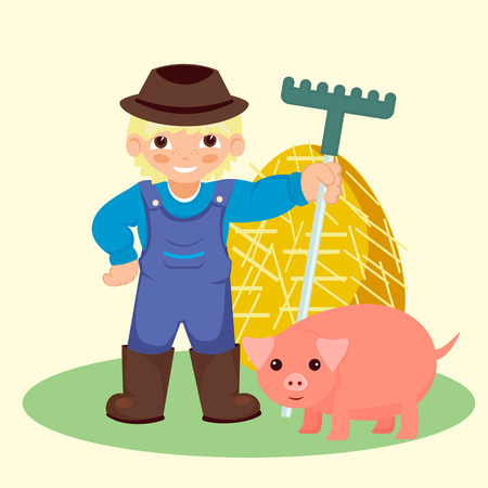 smiling farmer holding a rake next to stoick pink pig, haystack
