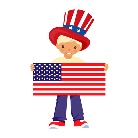happy feast: the feast of the boy in hat holds American flag happy independence day 4th of July cartoon vector Stok