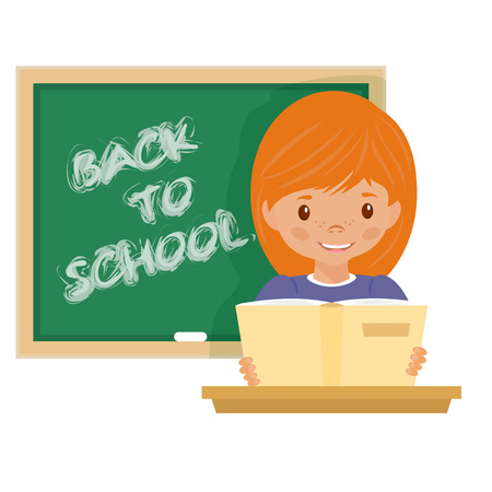young teacher: stock illustration of a blackboard green chalk to label. Young teacher sitting at Stom