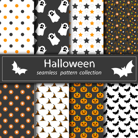 grey pattern: Set of Halloween backgrounds. Collection of seamless patterns in traditional colors of the holiday. Illustration
