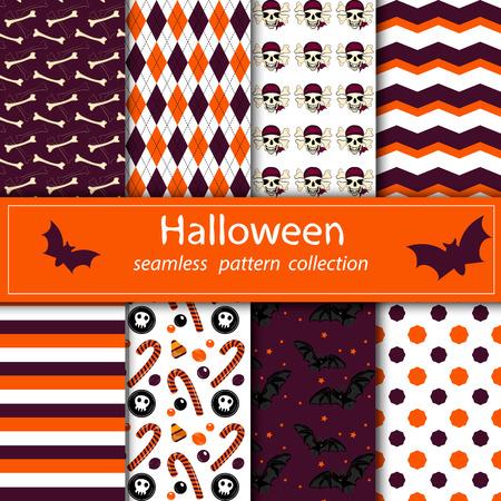 drain seamless fabric Halloween orange purple skull sweets bones