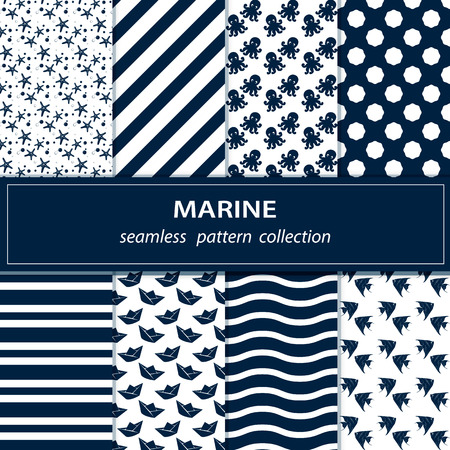 interruption: seamless flow painting on the theme of the sea in blue white , anchor, wheel , seashell wave , starfish, osminkina