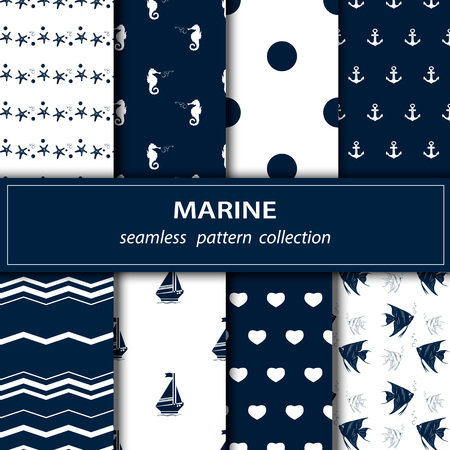 coastal: illustration of sea theme seamless fabric. A set of eight paintings. Blue, white color. Anchor. Peas. Circle. The medallion. Fish. Shell. Pearls. Wave. The medallion. Love. Heart. Yacht. Seahorse.