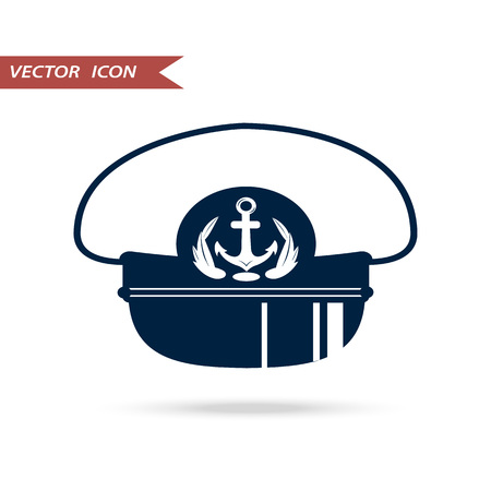 piloting: icon sea captains hat, illustration captains hat, isolated on white background.
