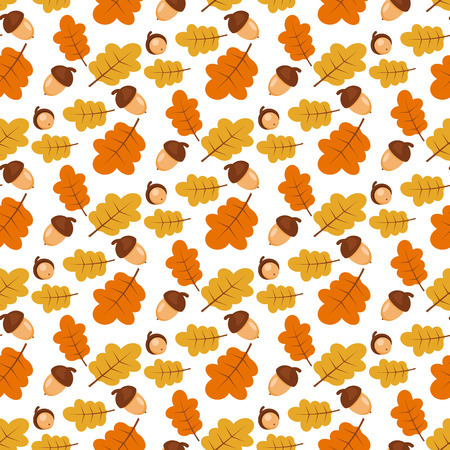stoke: Stoke. Autumn. Nature background. Seamless pattern with oak leaves and acorns.