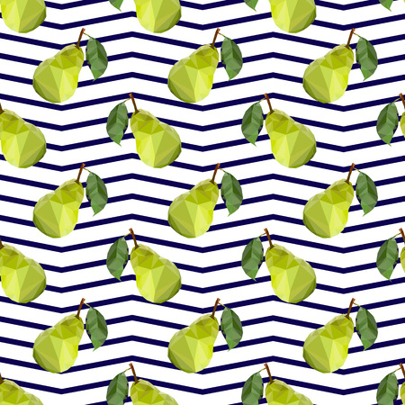 abstract food: Seamless fabric. Ripe green pear isolated on a white background. Green leaf. Twig.Low-poly triangular style illustration. Line zigzag.