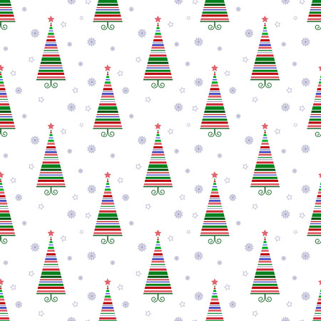 Merry Christmas and happy New year! Seamless fabric. Bright Christmas tree. Different colors.