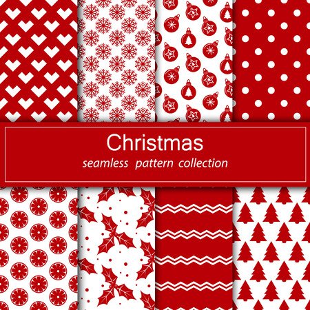 Set of festive backgrounds. Christmas and New year.  Stoke. Collection of seamless patterns with red and white flowers.