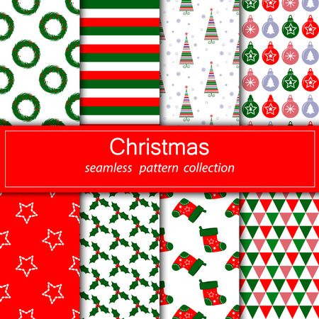 Collection of seamless patterns with red, green and white color.Set of festive backgrounds. New year and Christmas.