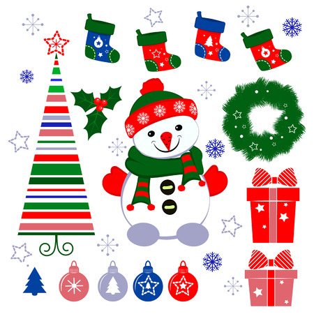 Set of Christmas icons cartoon. Elements isolated on white (red, blue, green).Snowman, Christmas tree, Christmas ball. Merry Christmas and happy New year! Illustration