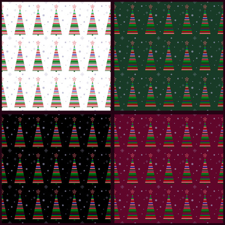 Merry Christmas and a happy New year! Seamless fabric. Bright abstract Christmas tree. Different background colors. Used for film, textile, paper, website background, gift wrapping.