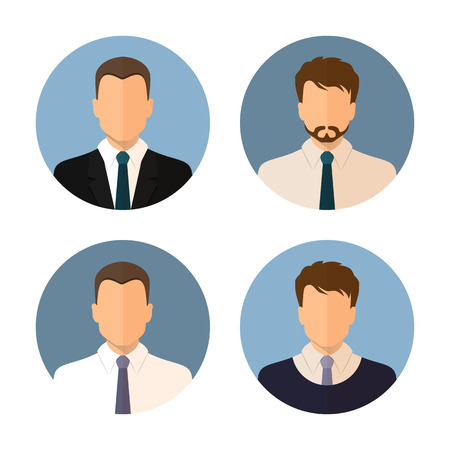 Business man icon isolated on a white background. Collection round the avatar. Modern design flat style. Vector. Stoke