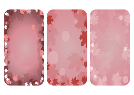 bedding: Set.Autumn frame with maple leaves falling. Delicate pink color. Bedding colors. Nature Banner. Stock Vector.