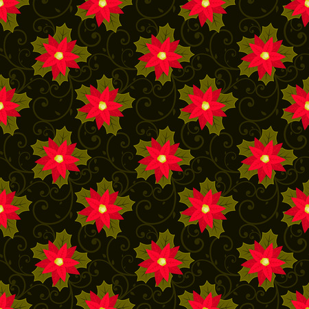 winter fashion: Festive background.Seamless pattern. Red flower. Poinsettia. Christmas and New year.Texture for web,print,Wallpaper,decoration,winter,fashion,website background,gift wrapping. Vector stock. Illustration
