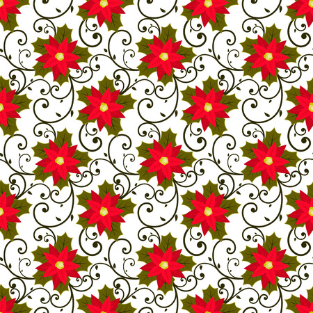 winter fashion: Festive background.Seamless pattern. Red flower. Poinsettia. Christmas and New year. Wallpaper, decoration, winter, fashion, gift packing. Vector Illustration