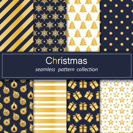 Set of seamless backgrounds with traditional symbols snowflake, pine tree,star and the corresponding abstract patterns. Vector