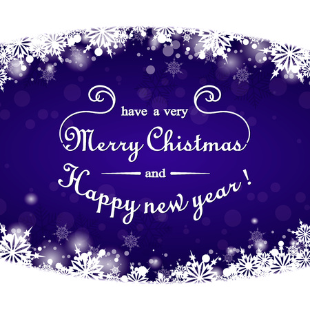 the inscription: Merry Christmas and happy New year! Elegant Christmas background with snowflakes. A bright blue color. A congratulatory inscription. Elegant background  Greeting card