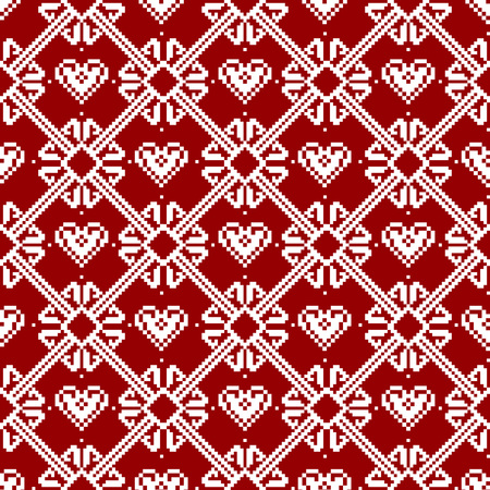 Seamless fabric.Merry Christmas and happy New year. The occasion. Pixels. White and red color. Background, gift wrapping, design, pattern, ornament, background website.