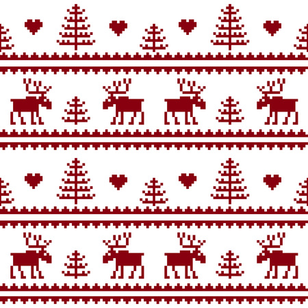 Seamless fabric.Merry Christmas and happy New year. Elk. Tree. Pixels. White and red color. Background, gift wrapping, design, pattern, ornament, background website.