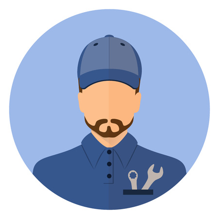 The man with the tool. Avatar. Round, emblem. Auto, mechanic, worker. locksmith. Stock vector.
