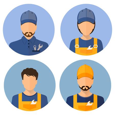 Conjunto de avatares de los constructores. Constructores. Mecánico, auto, mecánico. Estilo redondo del icono plano. Constructor Masculino. Constructor De La Mujer. Imagen vectorial.